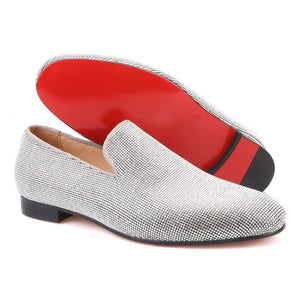 Men OneDrop Handmade Sliver Diamond Dress Shoes Red Bottom Wedding Party Prom Loafers