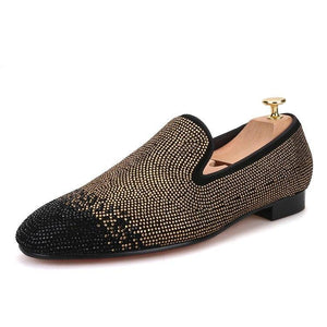 OneDrop Handmade Men Dress Shoes Suede Black Gold Rhinestone Party Wedding And Prom Loafers