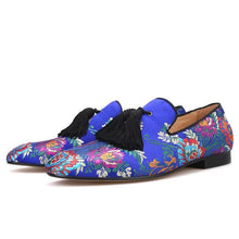 OneDrop Handmade Men Floral Wedding Party Prom Loafers Silk Dress Shoes Slippers