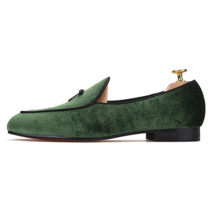 OneDrop Handmade Green Men Velvet Dress Shoes Leather Tie Red Bottom Wedding Prom Party Loafers