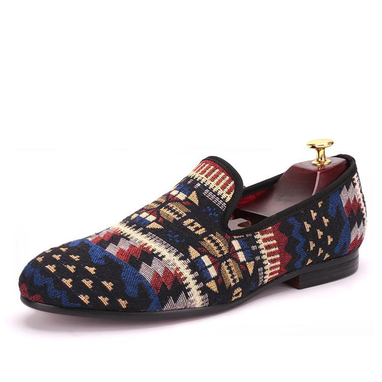 OneDrop Handmade Men Cotton Dress Shoes Multi Mixed Colors Knitted Party Wedding Prom Loafers
