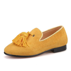 OneDrop Handmade Children Kid Dress Shoes Gold Cow Suede Tassel Party Wedding Prom Red Bottom Loafers