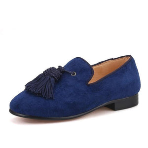 OneDrop Handmade Children Kid Dress Shoes Navy Cow Suede Tassel Party Wedding Prom Red Bottom Loafers