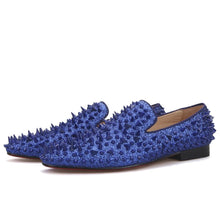 OneDrop Men Handmade Royal Blue Cow Leather Studded Dress Shoes Red Bottom Wedding Party Prom Loafers