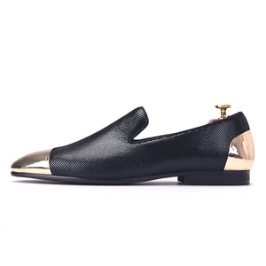 OneDrop Handmade Men Black Sheepskin Copper Buckle Party Wedding Banquet Prom Loafers