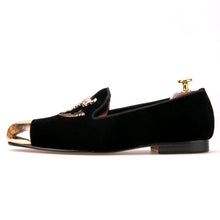 OneDrop Handmade Men Dress Shoes Black Velvet Skull Buckle Gold Toe Party Wedding Prom Loafers