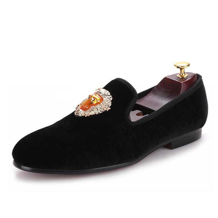 OneDrop Handmade Dress Shoes Lion Buckle Men Velvet Prom Wedding Party Loafers