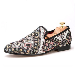 OneDrop Handmade Mixed Colors Men Flats Ethnic Lattice Dress Shoes Party Wedding Prom Loafer