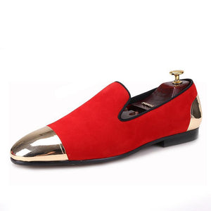 OneDrop Red Velvet Dress Shoes Handmade Men Gold Toe Party Wedding Prom Banquet Loafers