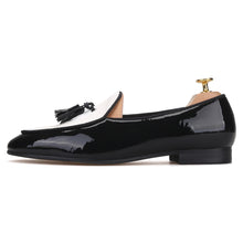 OneDrop Handmade Men Black Tassel Patent Leather Stitching White Canvas Party Wedding Prom Loafers