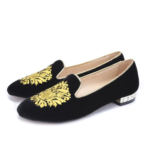 OneDrop Handmade Women Gold Flower Embroidery Velvet Dress Shoes Rhinestone Heel Party Wedding Prom Loafers