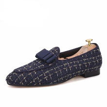 OneDrop Handmade Men Knitted Fabric Belgian Bowtie Party Wedding Prom Loafers
