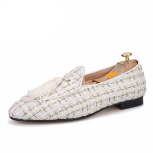 OneDrop Handmade Men White Mix Gold Knit Fabric Tassel Party Wedding Prom Loafers