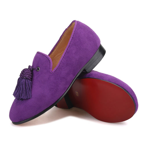 OneDrop Handmade Children Kid Dress Shoes Purple Cow Suede Tassel Party Wedding Prom Red Bottom Loafers