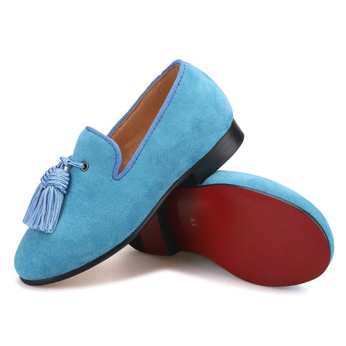 OneDrop Handmade Children Kid Dress Shoes Sky Blue Cow Suede Tassel Party Wedding Prom Red Bottom Loafers