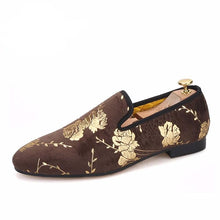 OneDrop Handmade Men Golden Flower Print Velvet Shoes Party Wedding Prom Loafers