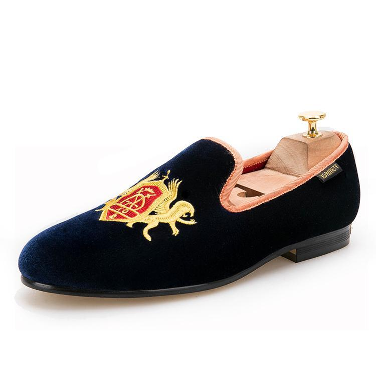 OneDrop Handmade Men Dress Shoes Refinement Embroidery Navy Upper Gold Outsole Velvet Wedding Party Prom Loafers