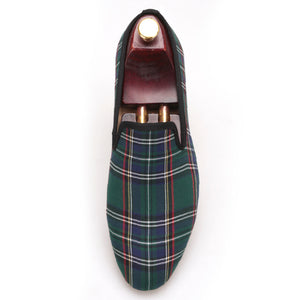 OneDrop Scotch Plaids Fabric Handmade Men Dress Shoes Wedding Party Banquet Prom Loafers
