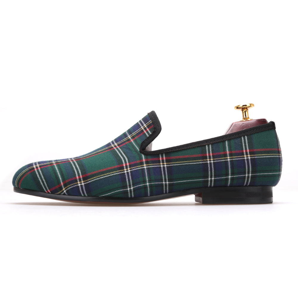 c8ca6e93d64f ... Piergitar Scotch Plaids Fabric Handmade Men Loafers Banquet And Prom  Flats ...