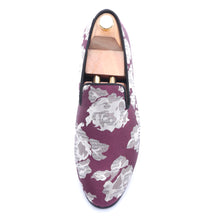 OneDrop Dress Shoes Purple Jacquard Fabric White Flowers Handmade Men Party Wedding Prom Loafers