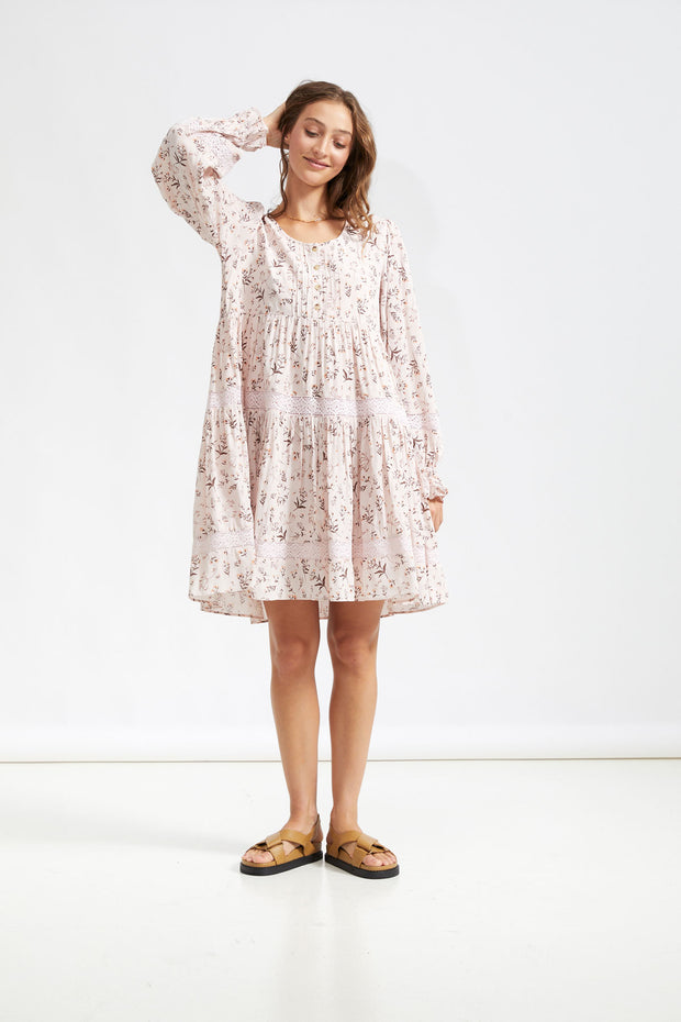 MOONSTONE SMOCK  DRESS - Pink Salt Floral