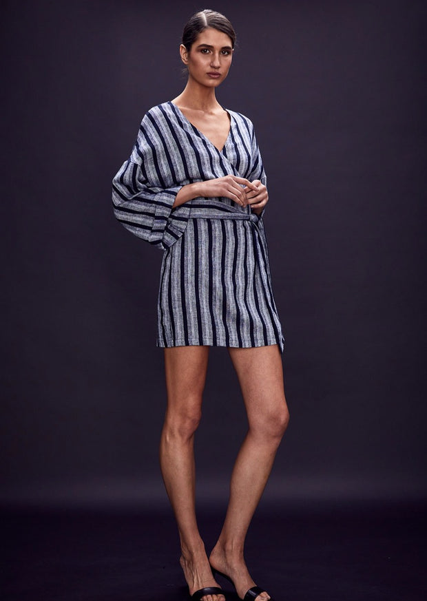 HARBOUR WRAP LINEN MINI DRESS