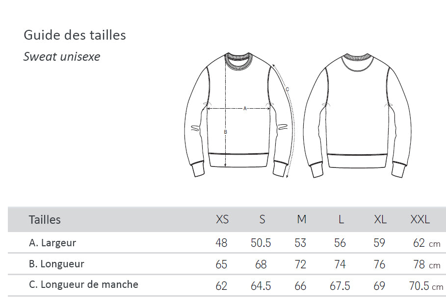 Guide des tailles - sweat unisexe Yepaa