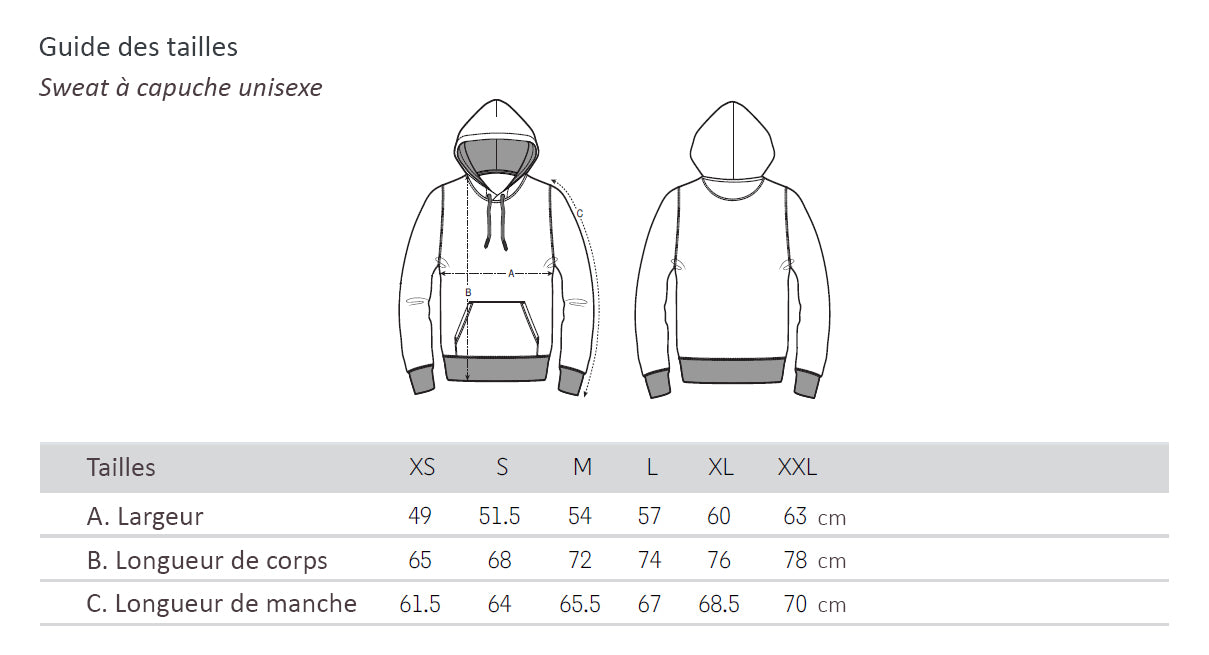 Guide des tailles - hoodies unisexes Yepaa