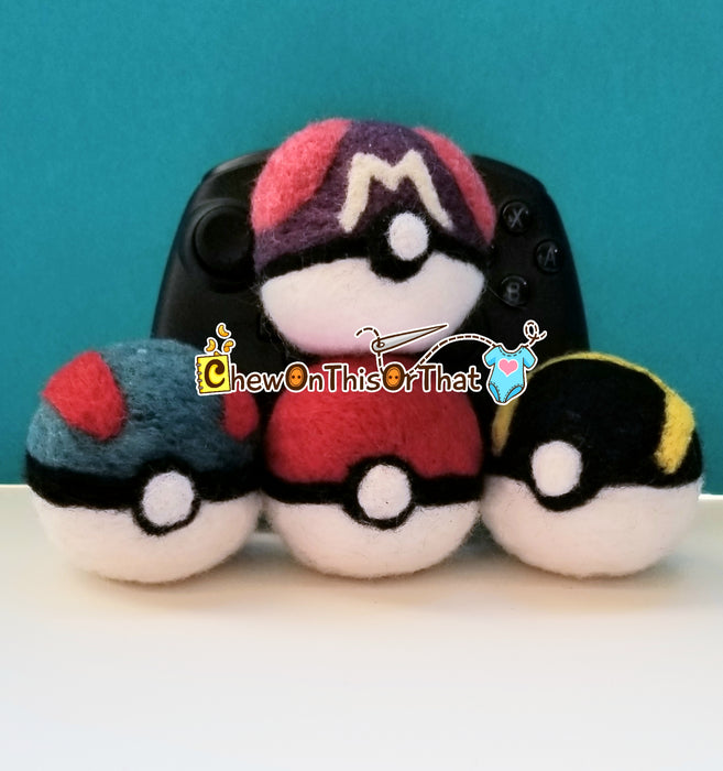 Pokemon Set Of 4 Classic Pokeballs Needle-Felted Plush Figures - Chew On This Or That