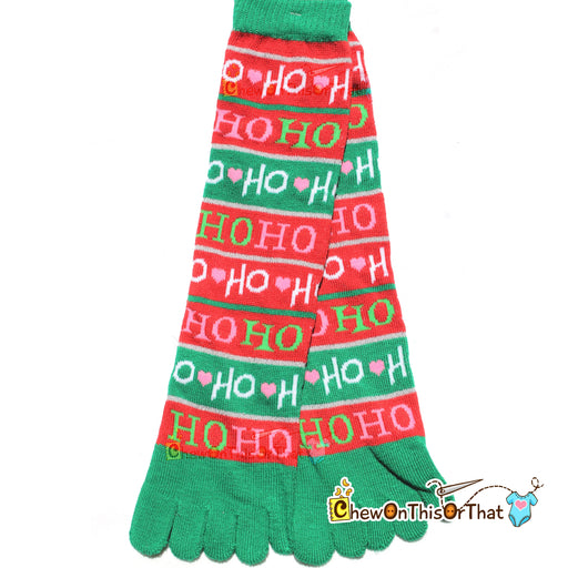 Ho Ho Ho Red and Green Christmas Toe Socks - Chew On This Or That
