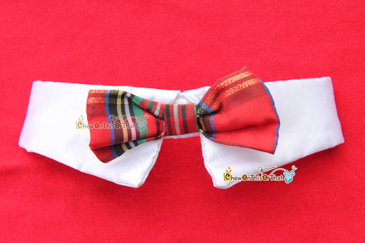 Christmas Red Plaid Dog Bow Tie with Collar for Small Dogs, Cats, Kittens, Puppies & Animal, Holiday Accessory, Dress Up Bowtie, White Shirt - Chew On This Or That
