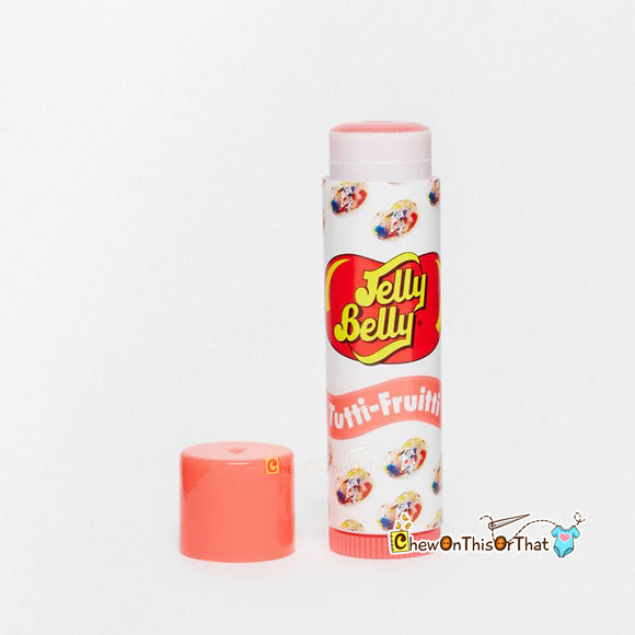 Jelly Belly Tutti-Frutti Flavored Lip Balm by Lotta Luv Beauty with peach cap.