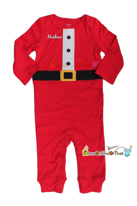 Red Santa Clause Baby Footless Sleeper with Santa Cap for Baby's First Christmas - Chew On This Or That
