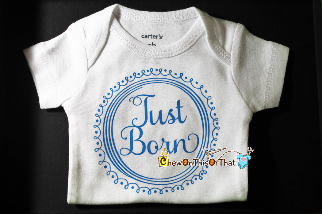 Just Born Newborn Infant Baby Onesie, Bodysuit, Shirt, Top for Girls and Boys - New Mom Gift, Unique Baby Shower Gift Add On - Chew On This Or That