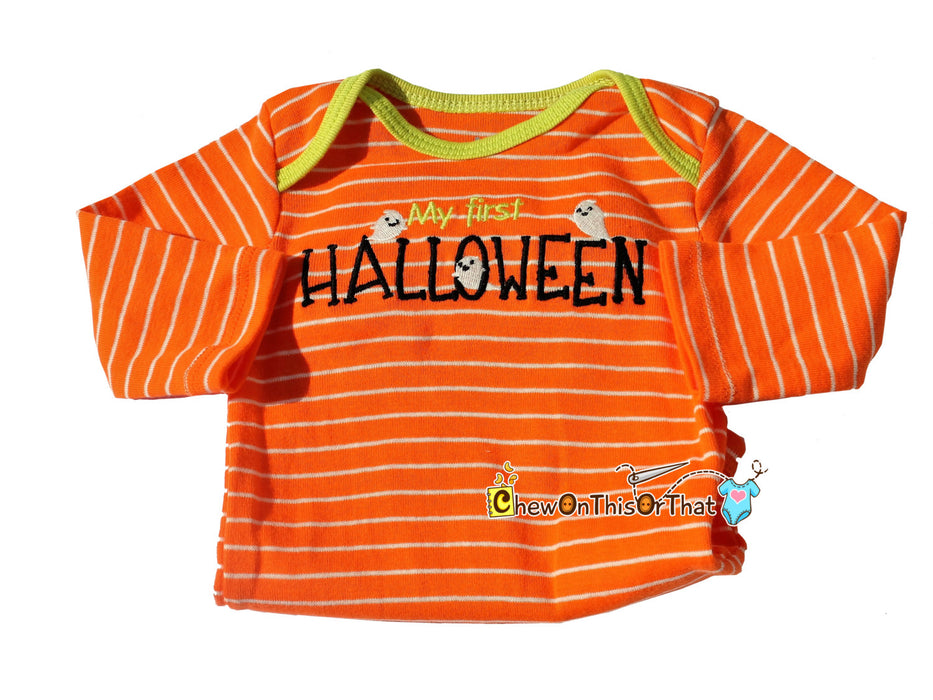 My First Halloween Orange and White Stripe Long Sleeve Embroidered Ghost Onesie, Bodysuit, Shirt, Top - Chew On This Or That