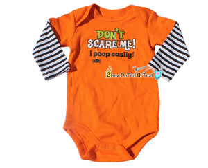 Don't Scare Me I Poop Easy Orange Statement Onesie with Black and White Stripe Sleeves - Baby's First Halloween Bodysuit, Shirt, Top - Chew On This Or That