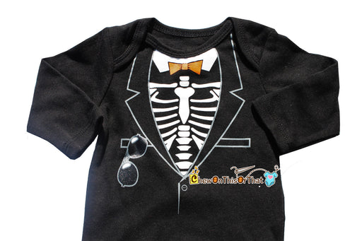 Baby's First Halloween Skeleton Tuxedo Costume Onesie with Bow Tie, Sunglasses, Bodysuit, Shirt, Top - Chew On This Or That
