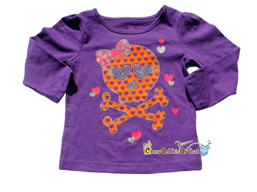 Personalized Purple Halloween Toddler Skull Shirt with Baby's Name - Chew On This Or That