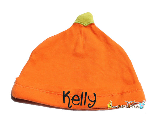 Personalized Orange Pumpkin Cap for Baby's First Halloween Costume - Chew On This Or That