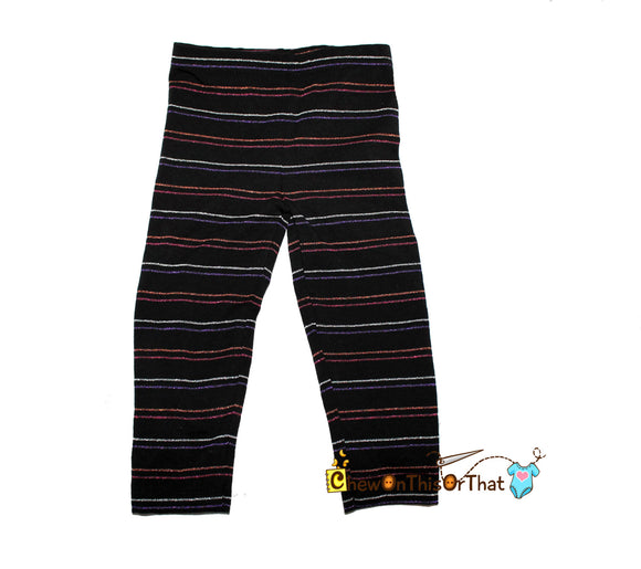 Black Halloween Inspired Striped Toddler Legging Stretch Pants - Chew On This Or That