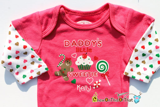 Daddy's Little Sweetie Personalized Christmas Statement Onesie - Baby Girl First Christmas Pink Long Sleeve Bodysuit, Top, Shirt, Photo Prop - Chew On This Or That