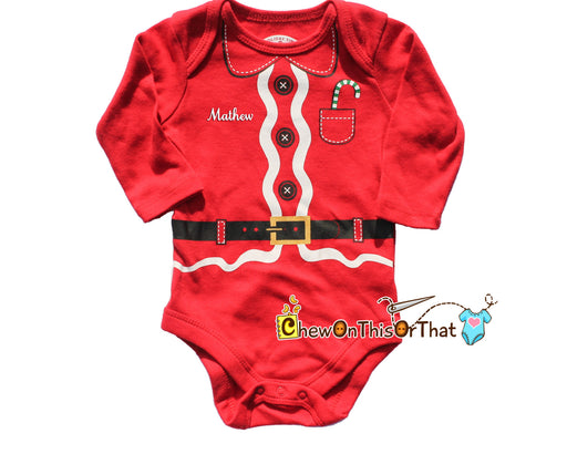Red Santa Clause Onesie Costume for Baby's First Christmas, Photo Prop Shirt, Family Pictures Cards Personalized Holiday Outfit Bodysuit - Chew On This Or That