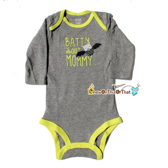 Batty About Mommy Baby's First Halloween Long Sleeve Gray Onesie - Embroidered Bodysuit, Top, Shirt, Photo Prop, New Mom Gift, Baby Shower - Chew On This Or That
