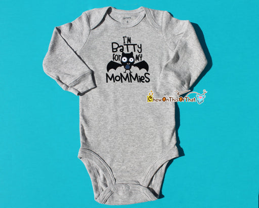 Batty For My Mommies Baby's First Halloween Long Sleeve Gray Onesie, Bodysuit, Top, Shirt Moms, Lesbian Moms, Gay Parents, LGBT Community - Chew On This Or That