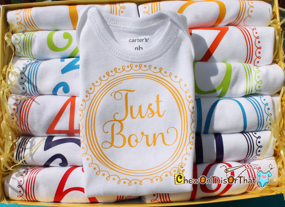 Just Born Newborn Infant Baby Onesie, Bodysuit, Shirt, Top for Girls and Boys - New Mom Gift, Unhique Baby Shower Gift Add On - Chew On This Or That