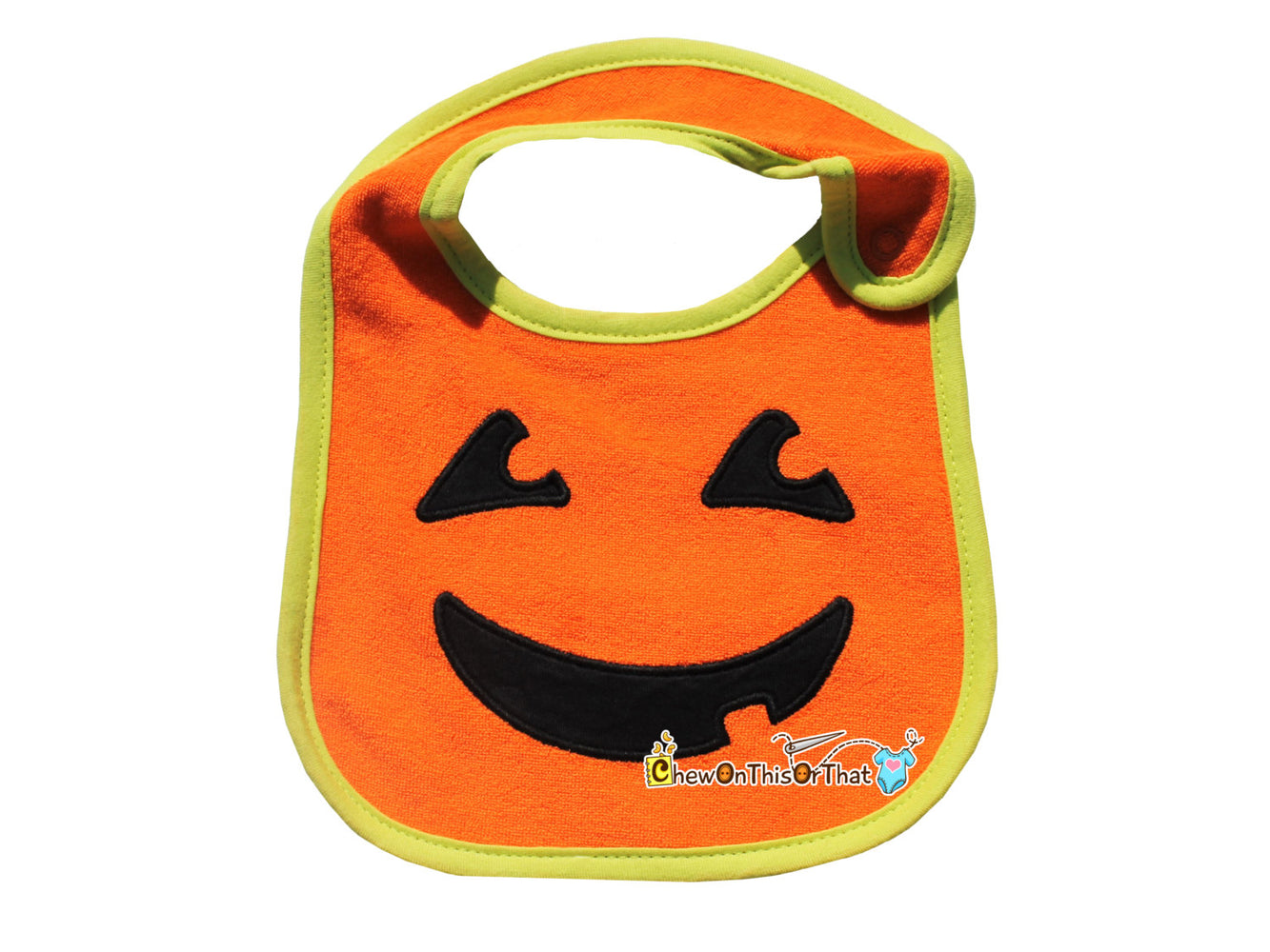 My First Halloween Embroidered Pumpkin Bib Personalized with Baby Name - Jack-O-Lantern Costume, Jack O Lantern Outfit - Chew On This Or That