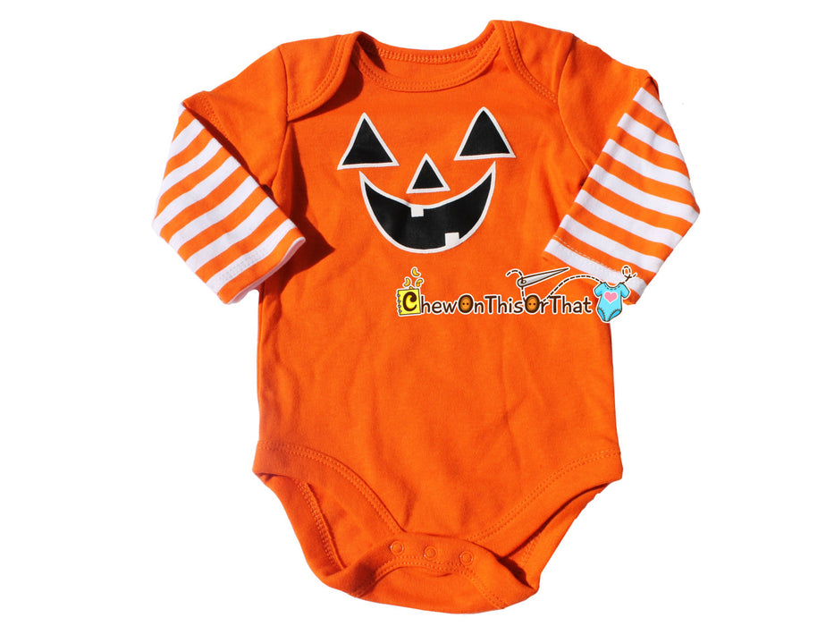 Personalized Orange Jack O Lantern Bodysuit for Baby's First Halloween, Halloween Pumpkin Costume Onesie, Shirt, Top - Chew On This Or That