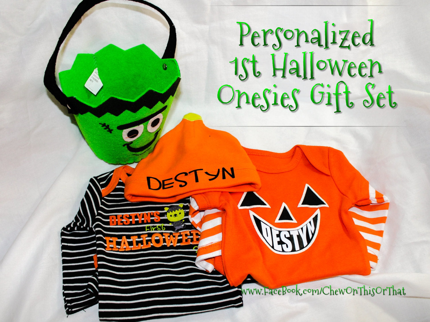 ff07008ea ... Baby's First Halloween Personalized Jack O Lantern Costume Onesie with Black  Sleeves, Bodysuit, Shirt