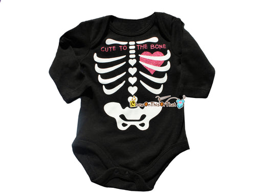 Cute to the Bone Black Skeleton Heart Costume Onesie for Baby Girl First Halloween - Chew On This Or That