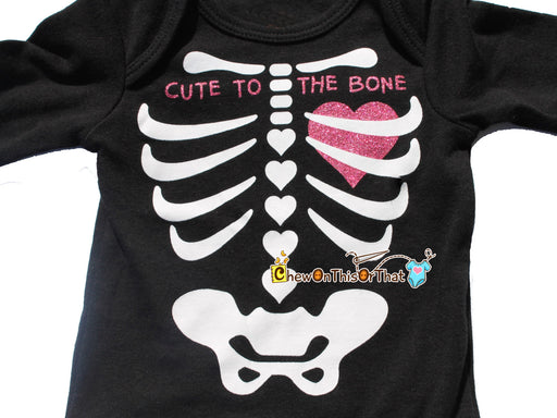 Cute to the Bone Black Skeleton Heart Costume Onesie for Baby Girl First Halloween, Day of the Dead Outfit, Long Sleeve Bodysuit - Chew On This Or That